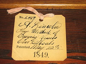 Abraham Lincoln's patent - Abraham Lincoln's U.S. patent 6,469 tag