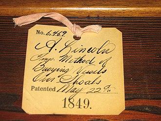 Abraham Lincoln's patent - Abraham Lincoln's U.S. patent 6,469 tag