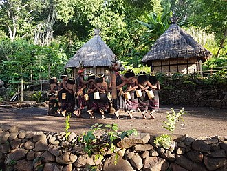 Abui people - The Takpala community performs a lego-lego dance for tourists.