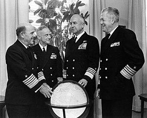 Thomas Hinman Moorer - Senior U.S. Navy commanders pose around an illuminated globe in 1968: Admirals John J. Hyland, John S. McCain, Jr., Chief of Naval Operations Moorer, and Ephraim P. Holmes.