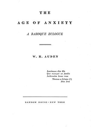 1947 in poetry - Title page of The Age of Anxiety (1947); Auden specified the typography for this book.