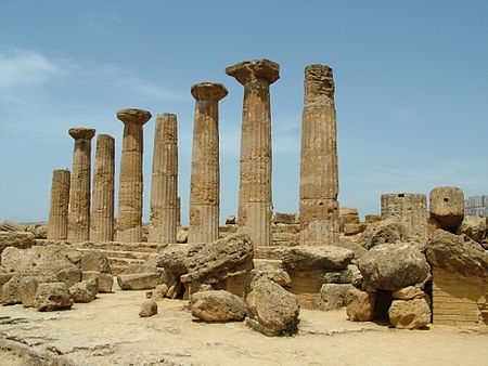 Temple to Heracles in Agrigento, Sicily, Italy