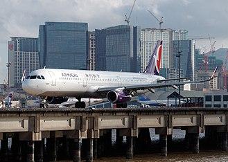 Macau - Air Macau Airbus A321 taxiing at Macau International Airport