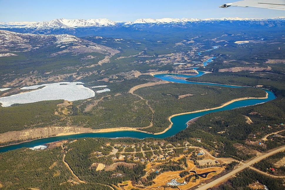 Air North flight from Whithorse to Kelowna - the Whitehorse environs - Chadburn Lake and the Yukon River (14468759762)