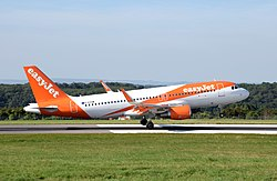 Airbus A320-200 of EasyJet (G-EZOW) lands at Bristol Airport, England 15Aug2016 arp.jpg