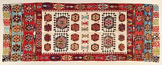 Aksaray Province - Aksaray Kilim, 18th century. The kilim was probably made by a group of settled Hotamis Turkmen in the Aksaray region. It may have been used for a funeral, and was  later donated to the local mosque.