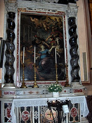 Giulio Benso -  Martyrdom of St. Lucy of Syracuse in the Church of Sant'Ambrogio, Alassio
