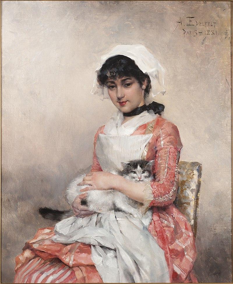 Albert Edelfelt - Girl with a Cat (1881).jpg