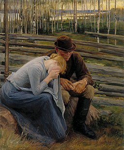Albert Edelfelt - Sorrow, Variation of the Illustration for the Poem At the Fair of Vernamo , Sorrow - A II 814 - Finnish National Gallery