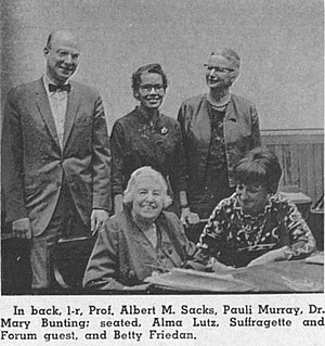 Betty Friedan - back, l to r, Prof. Albert M. Sacks, Pauli Murray, Dr. Mary Bunting; seated, l to r, Alma Lutz, suffragette and Harvard Law School Forum Guest, and Betty Friedan