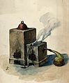 Alchemy; a double furnace with a glass vessel connected to i Wellcome V0025752.jpg