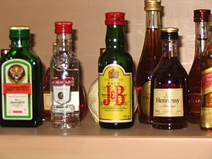 Some typical alcoholic beverages.