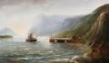 Alfred Jensen - Parti fra en norsk fjord med et skib, der ankommer til en bygd - 1916.png