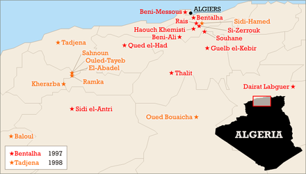 Massacres of over 50 people in 1997-1998. The Armed Islamic Group (GIA) claimed responsibility for many of them. Algerian massacres 1997-1998.png