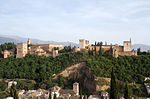 View of the Alhambra from the Mirador St Nicolas in the Albaycin of Granada
