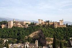 View of the Alhambra from the Mirador de San Nicolás in the Albaycin of Granada.