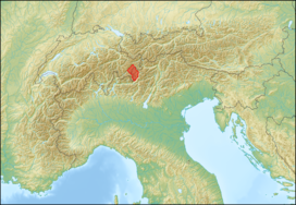 Livigno Alps (in red) within the Alps.The borders of the range according toAlpine Club classification of the Eastern Alps
