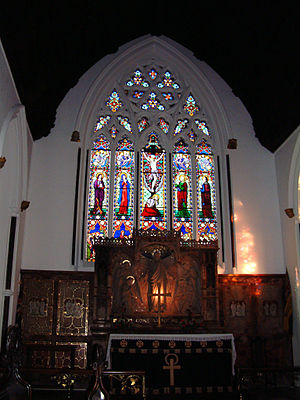 Stapleton, Bristol - Altar and stained glass window, Holy Trinity, Stapleton