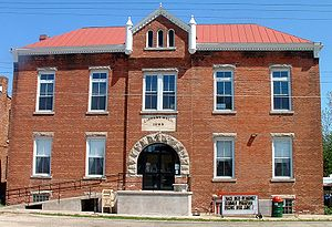 Lending library - A public library building in Altona, Illinois, a small village in the Midwestern United States.