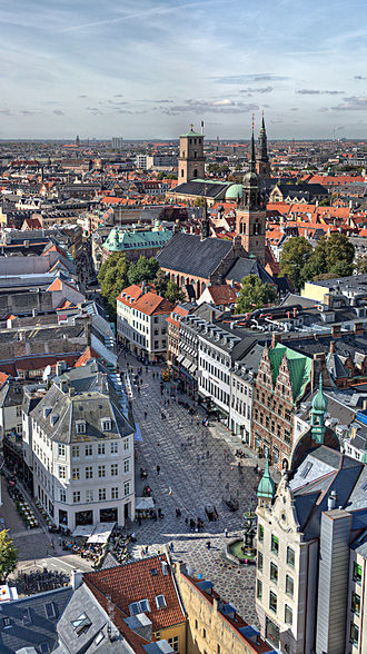 Strøget - Aerial view of the street looking West