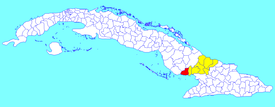 Amancio municipality (red) within  Las Tunas Province (yellow) and Cuba