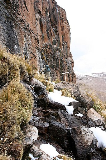 The Amazon was thought to originate from the Apacheta cliff in Arequipa at the Nevado Mismi, marked only by a wooden cross. Amazon origin at Mismi.jpg