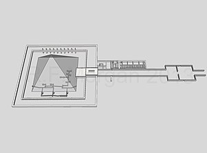 Pyramid of Amenemhat III (Dahshur) - Isometric drawing taken from a 3-d model