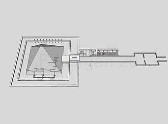 Pyramid of Amenemhat III (Dahshur) - Isometric drawing taken from a 3-d model
