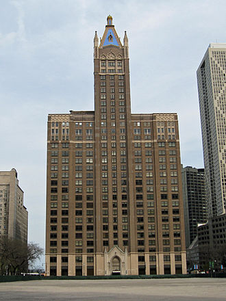 WCFL (AM) - Image: American Furniture Mart Building 2