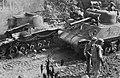 American Sherman tank after destroying a Japanese tank.jpg
