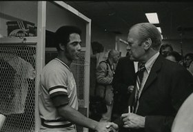 Amos Otis and Gerald Ford (cropped)
