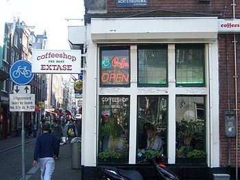 One of the many coffee shops in Amsterdam