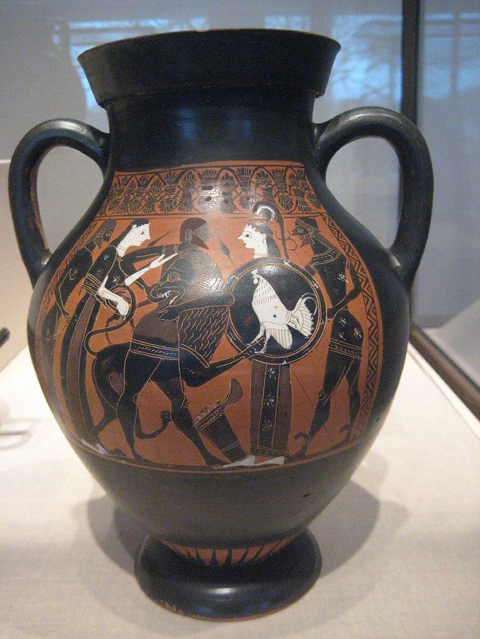 Ancient Greek Amphora of the Tarquinia Painter Herakles killing the Nemean Lion
