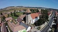 Ansamblul bisericii evanghelice fortificate vedere aeriana-1.JPG
