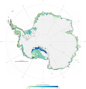 Climate of Antarctica - 0 September 2007 NASA map showing previously un-melted snowmelt