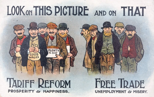 Anti Free Trade Postcard From 1910. (Corbis via Getty Images ; Getty Images)