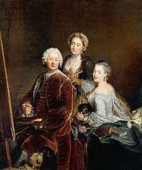 Self-portrait with Daughters Henriette Royard and Marie de Rège in front of the easel