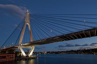 Anzac Bridge, spanning Johnstons Bay, links western suburbs to the CBD. Anzac Bridge East.jpg