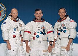 Bemanning Apollo 16 (L-R: Mattingly, Young en Duke)