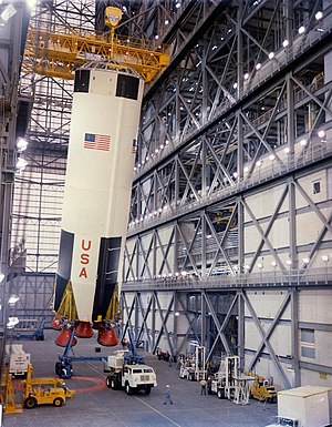 Saturn V - The first stage of Apollo 8 Saturn V being erected in the VAB on February 1, 1968