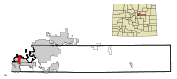 Arapahoe County Colorado Incorporated and Unincorporated areas Englewood Highlighted.svg
