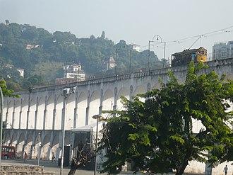 Santa Teresa Tram - A tram crossing the Carioca Aqueduct