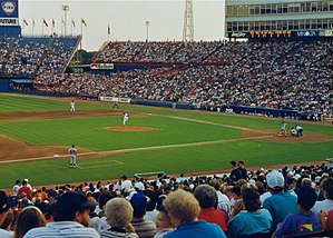 1992 Major League Baseball season - The Texas Rangers playing host to the Detroit Tigers at Arlington Stadium during a 1992 regular season game.