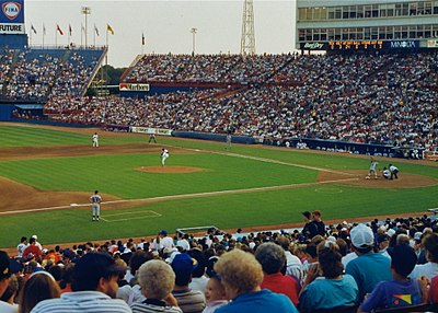 The Tigers playing against the Texas Rangers during a 1992 away game at Arlington Stadium. Arlington Stadium 1992 - 2.jpg
