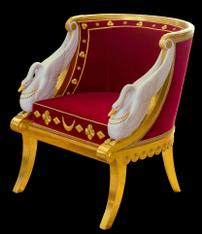 Fauteuil avec accoudoirs en forme de cygne, réalisé par Jacob-Desmalter (années 1800, château de Malmaison). (définition réelle 3544×4097)