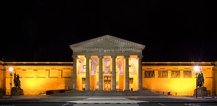 The Art Gallery of New South Wales, located in The Domain, is the fourth largest public gallery in Australia Art Gallery of New South Wales at night.jpg