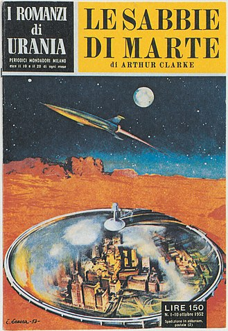 Urania (magazine) - Cover of the first novel from the book series I Romanzi di Urania: The Sands of Mars by Arthur C. Clarke, 10th October 1952.