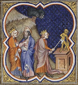 Asa of Judah - Illustration of Asa destroying the idols, in the Bible Historiale, 1372.