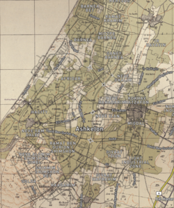 Ashkelon 2020 street map overlaid on Survey of Palestine map from 1942.png