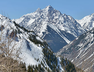 Pyramid Peak (Colorado) - View of Pyramid Peak from Aspen Highlands